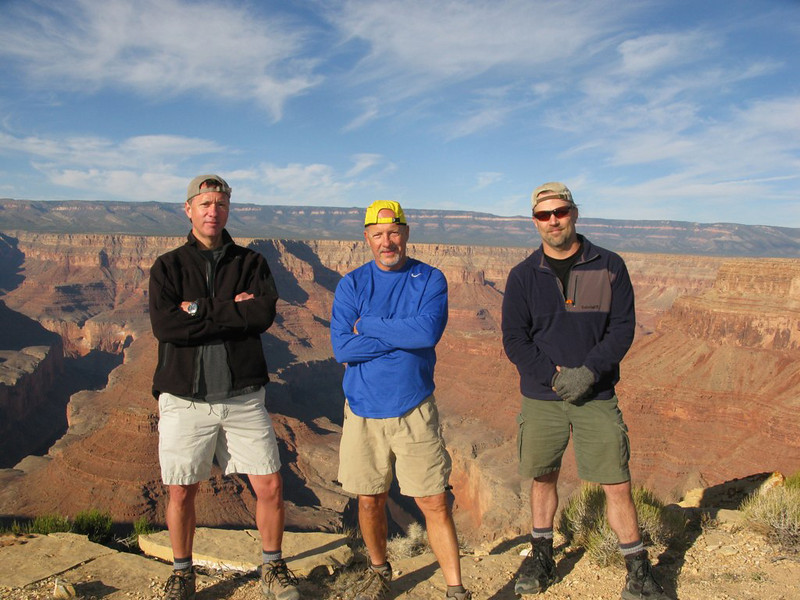 From left to right: Mark Walrod, Steve Pfeffer and Mark Metternich at a remote Grand Canyon location.