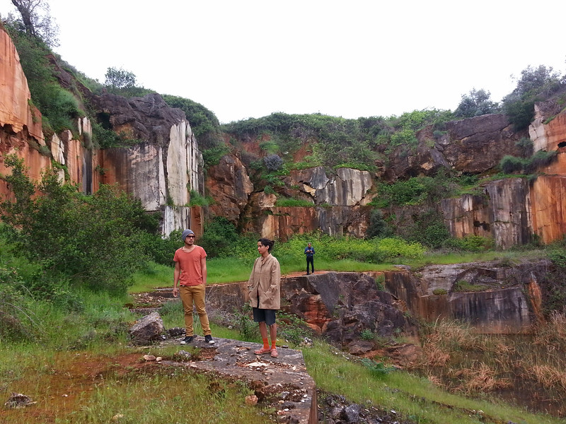 Abandonned marble quarry with Sara, Jonathan and Ludger