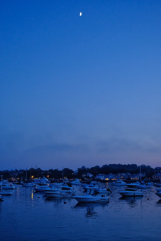 Moon over Plymouth Harbor