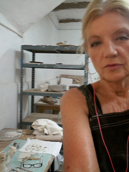 Me with work in progress in the clay atelier, Vallauris, France