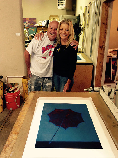 Mike and Norlynne at Michael Vigil print shop