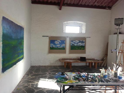 Nice light with work in progress in studio, Portugal