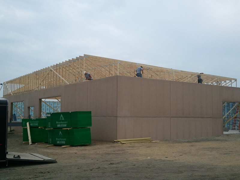 Installing Roof trusses of Aaron's Rental. Rantoul, IL