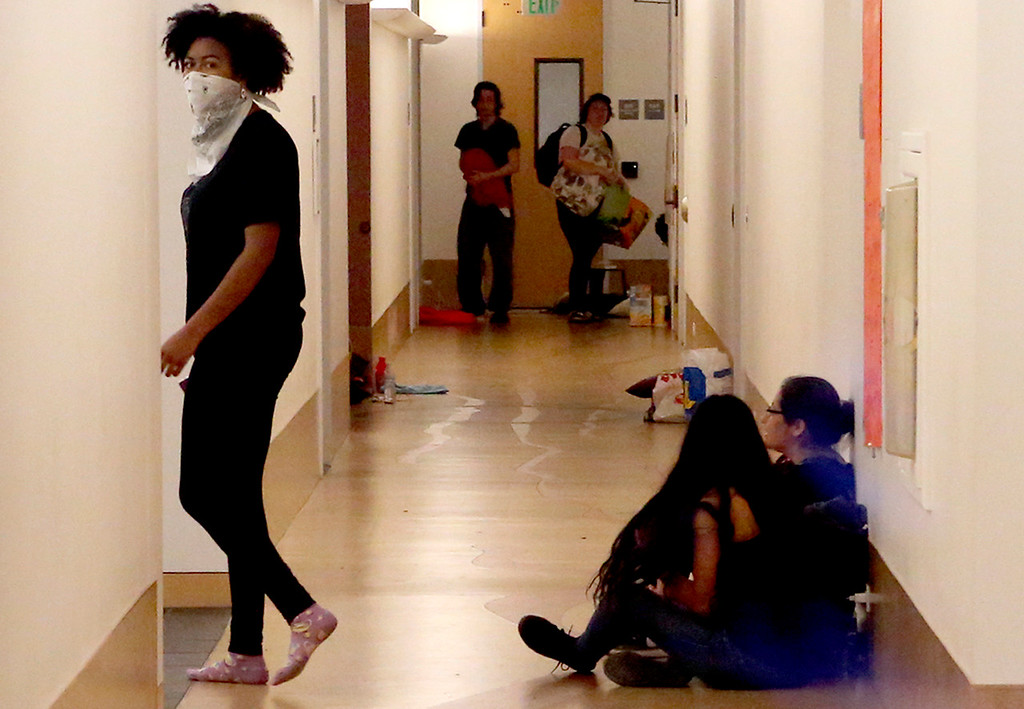 . Protesters occupy Kerr Hall at UC Santa Cruz on Wednesday May 3, 2017. (Shmuel Thaler -- Santa Cruz Sentinel)