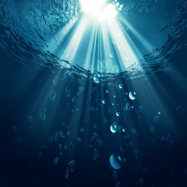 Deep blue ocean with water bubbles, environmental backgrounds
