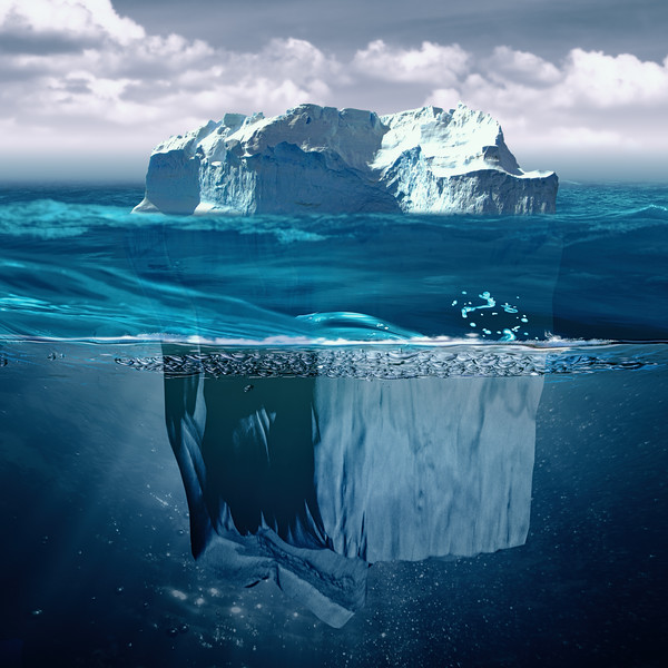 Iceberg, marine backgrounds with north ocean and underwater landscape