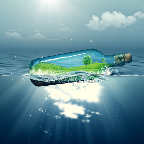 Green island inside the bottle, abstract environmental backgrounds