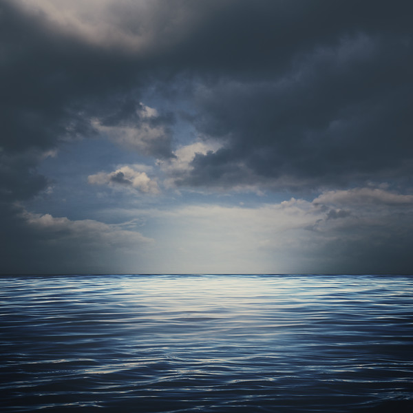 Sea surface under stormy skies, abstract natural backgrounds