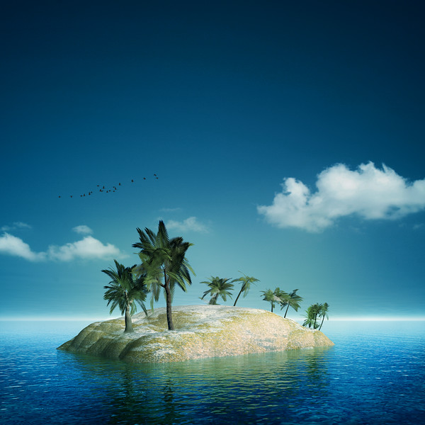 On the island. Abstract sea and ocean backgrounds