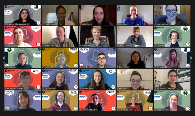 Attendees of the 2021 Maine AmeriCorps member conference pose for a group photo while inside the virtual conference room.