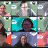 """Nine AmeriCorps members in a Zoom meeting participate in a """"guess the drawing"""" networking activity during the 2021 Maine AmeriCorps Member Conference"""