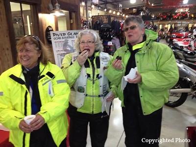 Motor Maids love to enjoy some caffeine and sweets. — with Nancy Robertson, Lise LeBlanc and Cheryl Swinamer MacLaggan