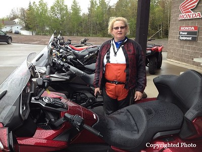 Kathy Ames checking out possible future bikes. I see a beautiful Goldwing in her future