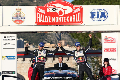 ogier s ingrassia j (fra) VW polo R WRC n°1 2015 portrait podium RMC  (JL)-41