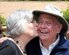 Marty Griffin gets a big birthday kiss from Rep.Lynn Woolsey during the celebration of his 90th at the Audubon Canyon Preserve in Stinson Beach, CA on Saturday, July 24, 2010.(Jocelyn Knight Photo)