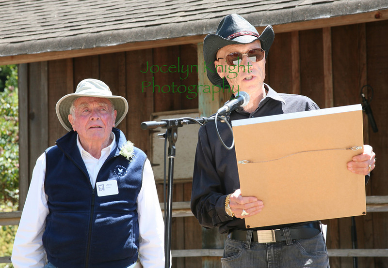 Marty Griffin listens to Audubon Canyon Ranch President Andy Lafrenz read the proclamation that renames Bolinas Lagoon Preserve the  Martin Griffin Preserve in honor of his dedication and monumental efforts to protect West Marin from development Saturday, July 24, 2010 during the celebration of his 90th birthday at Audubon Canyon Ranch, Stinson Beach, CA.(Jocelyn Knight Photo)