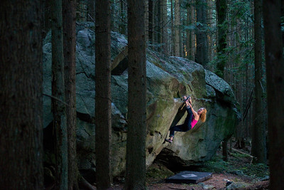 Senja Palonen bouldering on the Hollyburn Erratic. Brothers Creek, Hollyburn Mountain. West Vancouver, BC