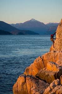 Rock climbing in West Vancouver, British Columbia, Canada