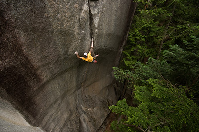 Will Stanhope on Cobra Crack (5.14a). Squamish, BC
