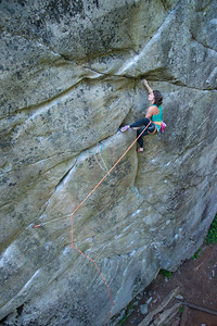 Sarah Hart on The Man From Delmonte (12d). Quercus Cliff. Murrin Park, Squamish, BC