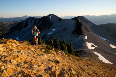 Senja Palonen runs the Saddle Ridge Trail above Elfin Lakes, Garibaldi Provincial Park. Squamish, British Columbia