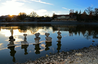 Atascadero Lake  -  January 19, 2014 These are a few of my favorite things: I enjoy balancing rocks; I enjoy photography; I enjoy spending time at Atascadero Lake, especially at sunset! And up until recently, I have not been able to combine all three of these passions as there have been no available rocks. I have found an opportunity in the severely low water levels; many rocks resting on the now dry lake floor, just awaiting their turn to be balanced!