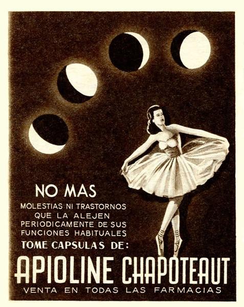 1948 APIOLINE anti menstrual pain capsules Argentine (Para Ti)