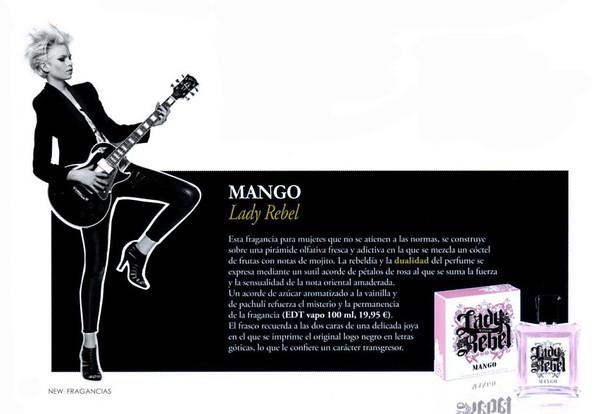 2009 MANGO Lady Rebel fragrance Spain (half page News Fragancias)