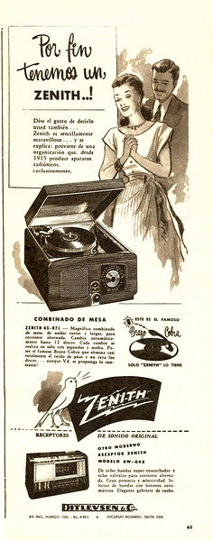 1948 ZENITH record players Argentina (hlf page Para Ti)