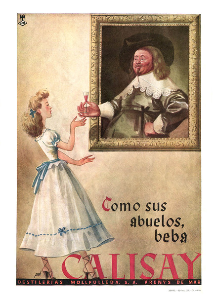 1950 ca CALISAY quinine herbal digestive liqueur Spain