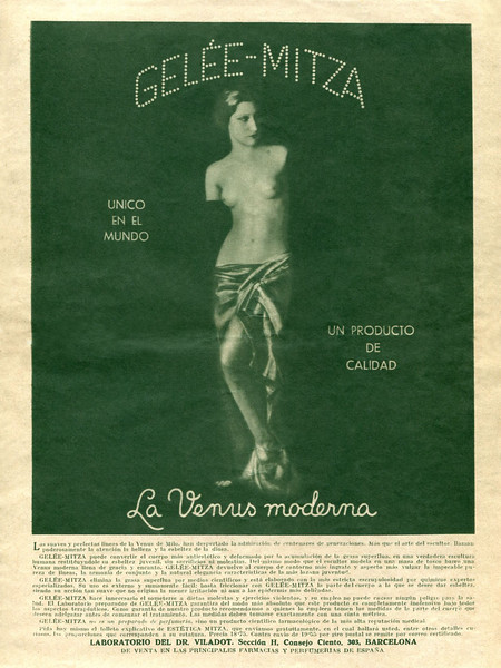 1936 GELÉE-MITZA fat reducing gel Spain (El Hogar y la Moda)