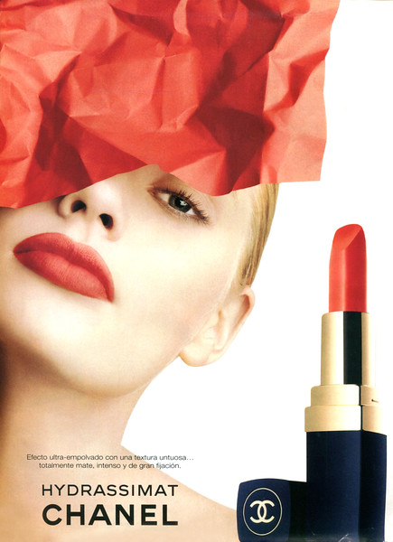1997 CHANEL Hydrassimat lipstick: Spain (Lectiras) featuring Kirsty Hume