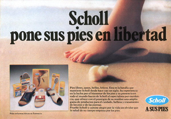 1981 SCHOLL foot care products Spain (half page Hola)