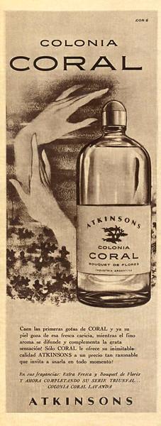 1960 ATKINSONS Coral Bouquet de Flores cologne Argentina (half page Para Ti)