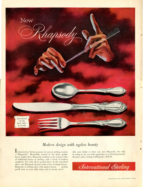 1956 INTERNATIONAL STERLING Rhapsody cutlery Canada (Chatelain)