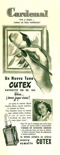 1948 CUTEX Cardenal nail lacquer Argentina (half page Para Ti)