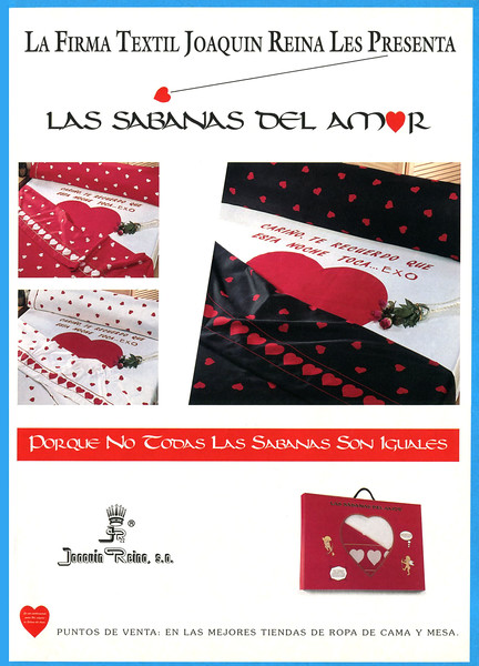 1995 JOAQUÍN REINA bedsheets Spain (Hola) 'The bedshees of love'