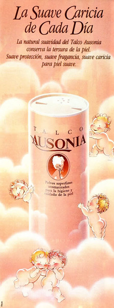 1986 AUSONIA talcum powder Spain half page