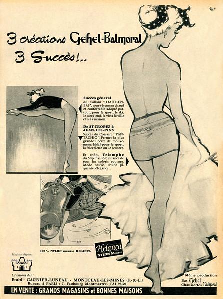 1956 GEHEL-BALMORAL hosiery France (Marie Claire)