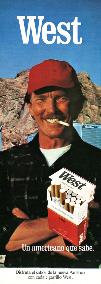 1985 WEST cigarettes Spain (half page Hola)