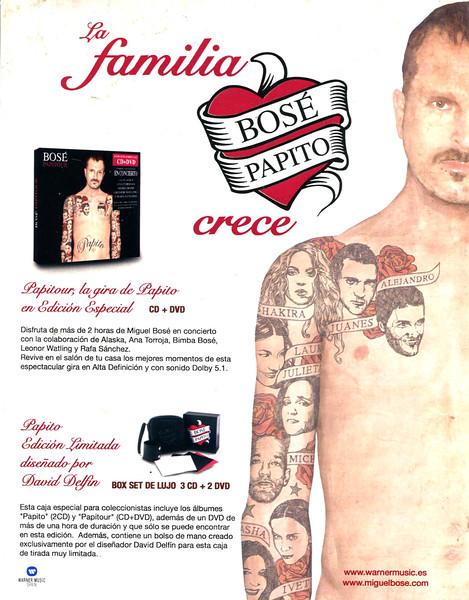 2007 MIGUEL BOSÉ's 'Papito La Familia Crece music CD Spain (El País Semanal)