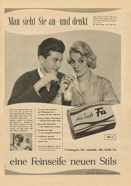 FA soap 1957 Germany 'Man sieht Sie an - und denkt - eine Feinseife neuen Stils'
