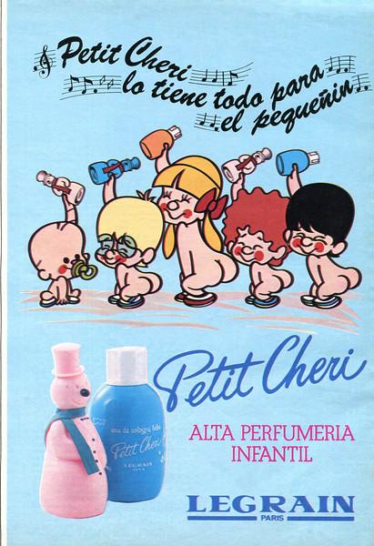1980 LEGRAIN Petit Cheri cologne & toiletries Spain (Nueva)