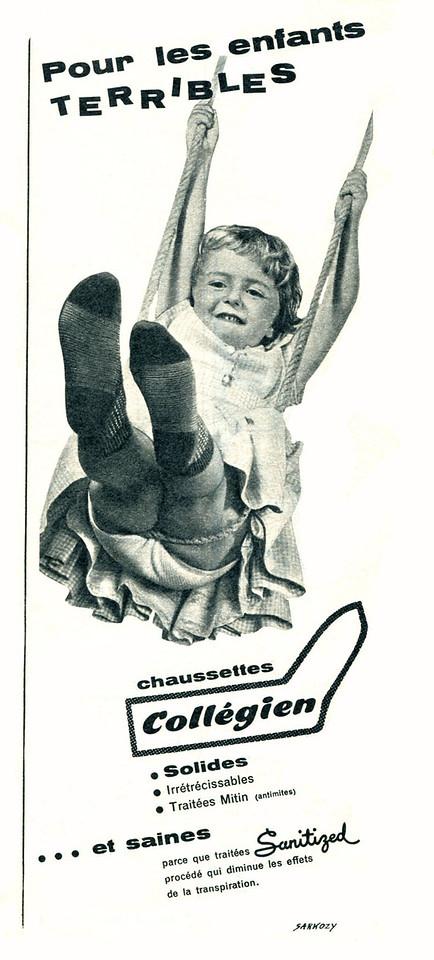 1960 COLLÉGIEN socks: France (half page Elle)