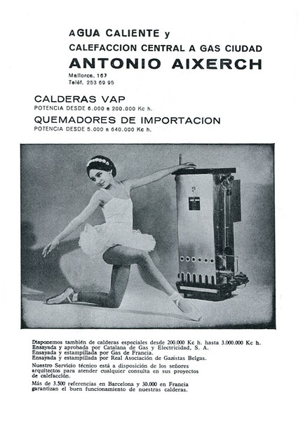 1965 ANTONIO AIXERCH boilers & gas installers Spain (from Liceu theatre programme booklet)