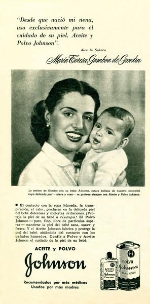 1952 JOHNSON & JOHNSON Diverse (oil & lalcum powder) Argentina half page 'Desde que nació  mi nena'