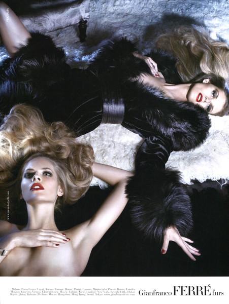 2008 GIANFRANCO FERRÉ fall-winter clothing Russia (Harper's Bazaar) featuring Malgosia Bela & Julia Stegner by Steven Meisel