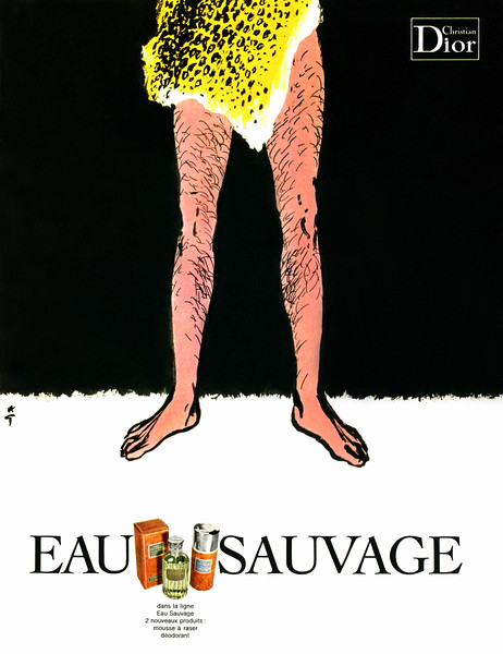 1970 CHRISTIAN DIOR Eau Sauvage cologne France ILLUSTRATOR René Gruau