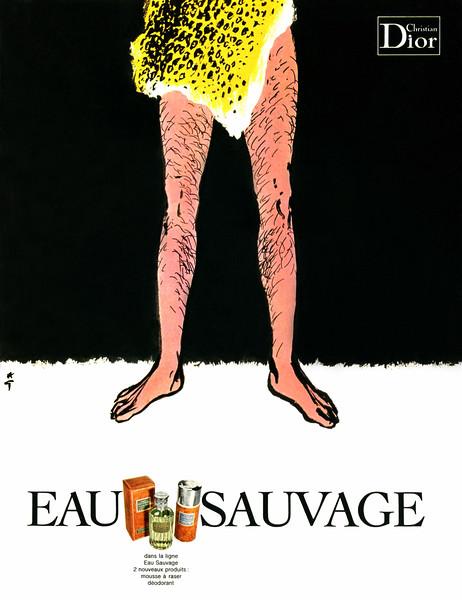 1970 CHRISTIAN DIOR Eau Sauvage cologne France ILLUSTRATOR René Gruau