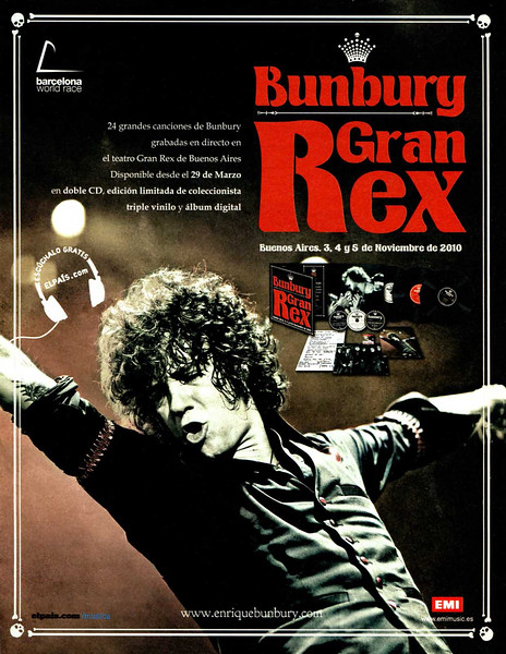 2011 ENRIQUE BUNBURY Grand Rex CD Spain (El País Semanal)